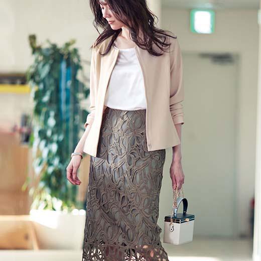 スカートスーツ M L LL 3L リボンレーススカートセットスーツ(M~3L) ryuryu/リュリュ 20代 30代 40代 レディース ファッション ラナン Ranan 春 春服 大人 スカートスーツ