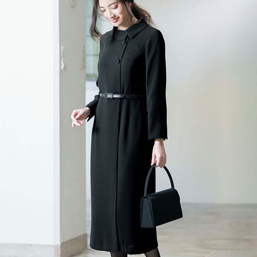 ブラックフォーマル S M L LL 洗える!楽(らく)に着られるクラシカルワンピース(S~LL) ryuryu リュリュ 40代 ワンピース レディース 春 春服 大人 喪服 スーツ 40代 ファッション