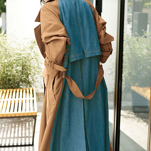 ロングコート M L LL 3L デニム使いトレンチコート(M~3L) ryuryu リュリュ レディース ロング コート アウター 羽織 40代 ファッション