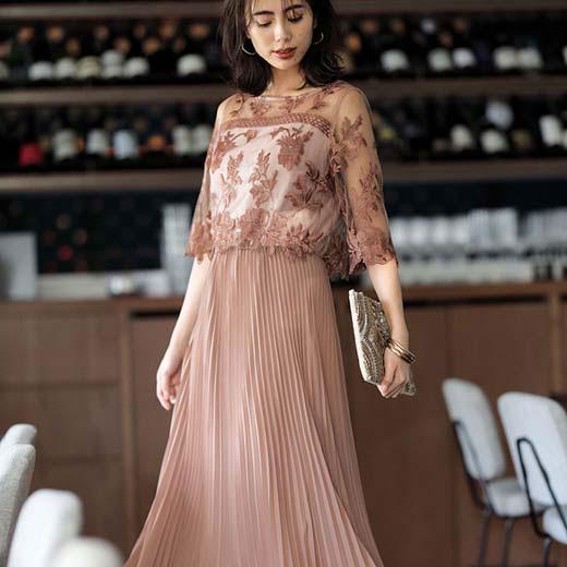 ワンピース M L LL レイヤードデザインプリーツドレス(M~LL) ryuryu リュリュ 40代 ワンピース レディース 夏 夏服 大人 半袖 40代 ファッション