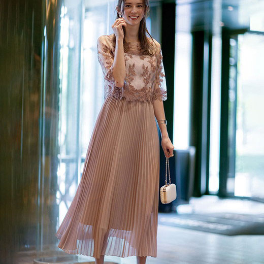 【10%OFFクーポン対象】ワンピース M L LL レイヤードデザインプリーツドレス(M~LL) リュリュ 40代 ファッション 40代 レディースファッション 春 春服 大人