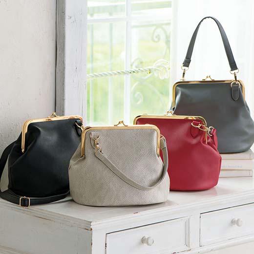 7ee83e877677 バッグかばんがま口デザイン2WAYバッグryuryu/リュリュラナンRanan30代40代ファッションレディース