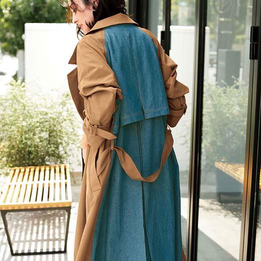 ロングコート M LL L 3Lデニム使いトレンチコート ryuryu/リュリュ 30代 40代 ファッション レディース ラナン Ranan 春服 ロングコート コート アウター スプリングコート