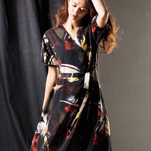7d40810e8bc14 ワンピースMLLL3L印象派プリントワンピースryuryu リュリュ30代40代ファッションレディースワンピース夏
