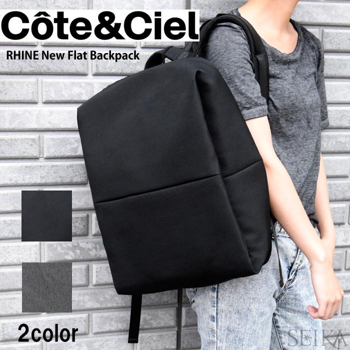 (特典付き!)【5】Cote&Ciel コートエシエルRHINE New Flat Backpack【28038 BLACK】【28039 BLACK MELANGE】バックパック リュックサック通勤 通学 鞄 かばん