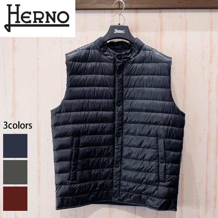 ヘルノ HERNO メンズ ダウンベストPI0444U 12020 9201(8)ネイビー 6901(9)レッド 9465(10)グレーブルゾン コート ジャンパー
