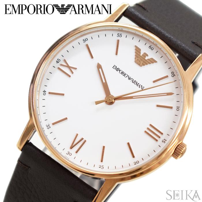 エンポリオアルマーニ EMPORIOARMANI AR11011時計 腕時計 メンズピンクゴールド ホワイト ダークブラウン レザー