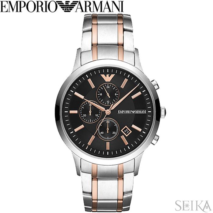 【レビューを書いて5年保証】エンポリオアルマーニ EMPORIO ARMANI AR11165時計 腕時計 メンズ ブラック シルバー 父の日