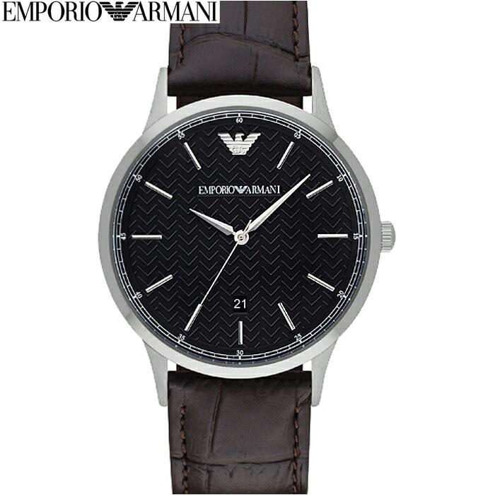 エンポリオアルマーニ EMPORIOARMANI AR2480時計 腕時計 メンズブラック ヘリンボーン柄 ダークブラウン レザー (k-15)