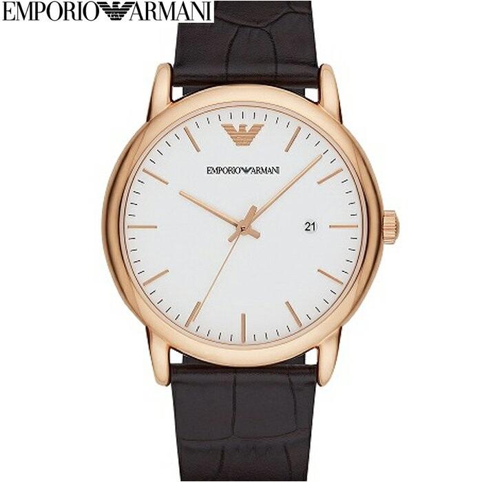 【クリアランス】【本数限定!】エンポリオアルマーニ EMPORIOARMANI AR2502時計 腕時計 メンズピンクゴールド ホワイト ダークブラウン レザー (k-15)