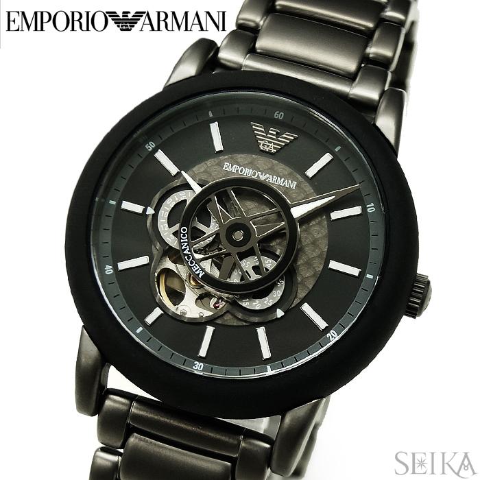 【レビューを書いて5年保証】エンポリオアルマーニ EMPORIO ARMANI AR60010 時計 腕時計 メンズ ブラック 自動巻き ギフト