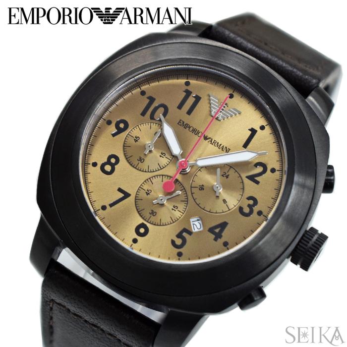 【クリアランス】【本数限定!】エンポリオアルマーニ EMPORIOARMANI AR6055時計 腕時計 メンズグレー ブラウン レザー (k-15)