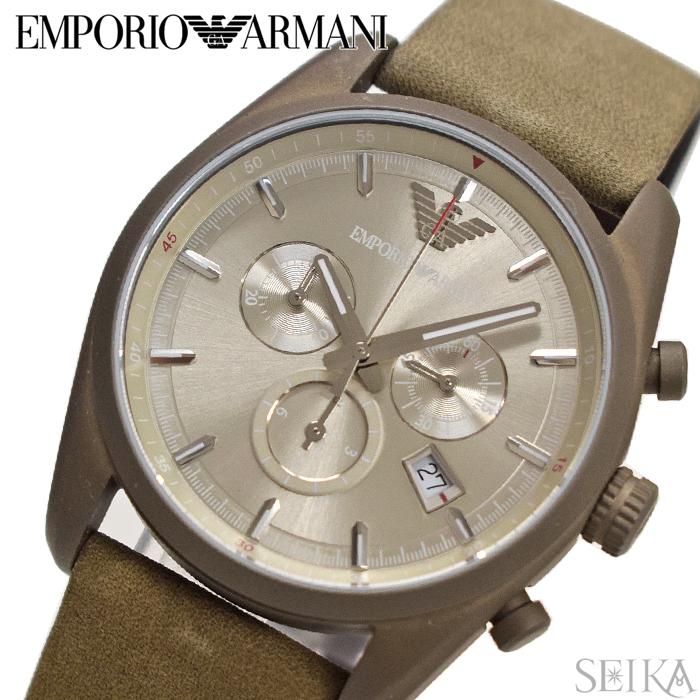 エンポリオアルマーニ EMPORIOARMANI AR6076時計 腕時計 メンズシルバー カーキ レザー (k-15)