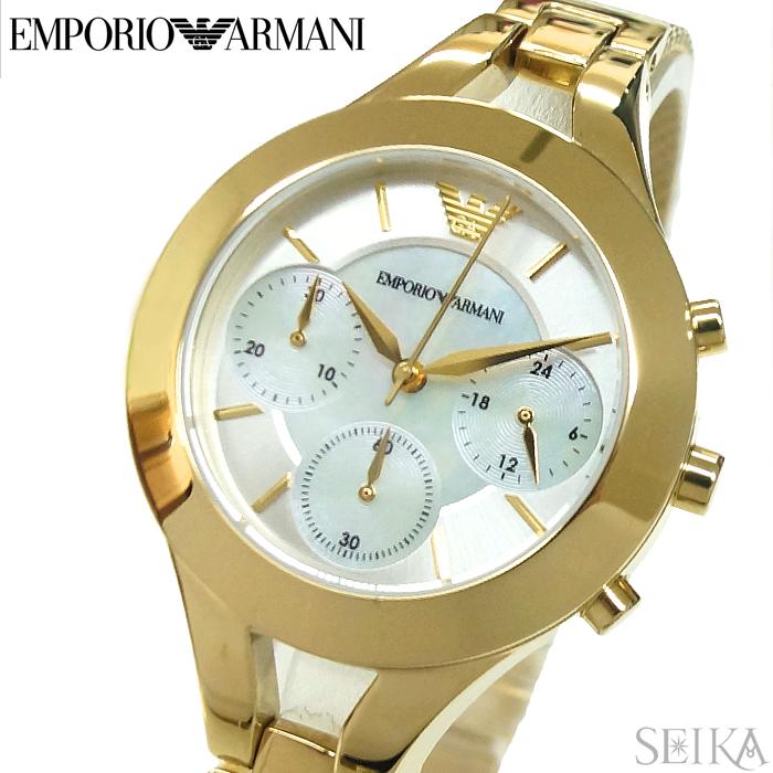(訳有り ベゼルに傷有り)エンポリオアルマーニ EMPORIOARMANI AR7390 時計 腕時計 レディース ゴールド ホワイトシェル メッシュ