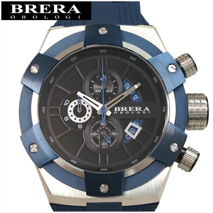 【レビューを書いて5年保証】【サマークリアランス】【59】ブレラ オロロジ BRERA OROLOGI スーパースポルティーボ SupersportivoBRSSC4901E メンズ 時計ブラック×シルバー ネイビー ラバー 青い腕時計 ギフト