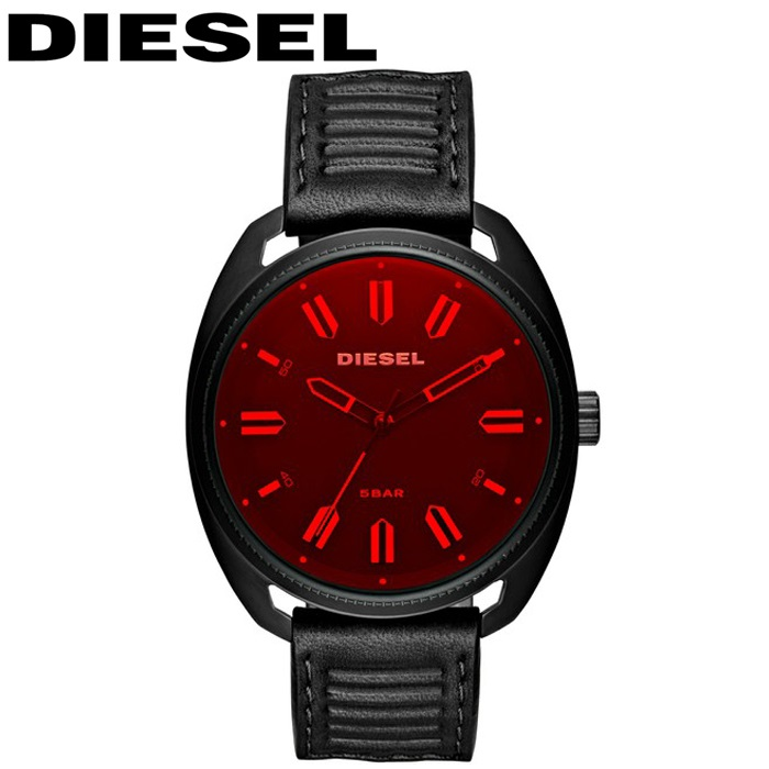 ディーゼル DIESEL DZ1837ファストバック 時計 腕時計 メンズレッド ブラック レザー【ID】