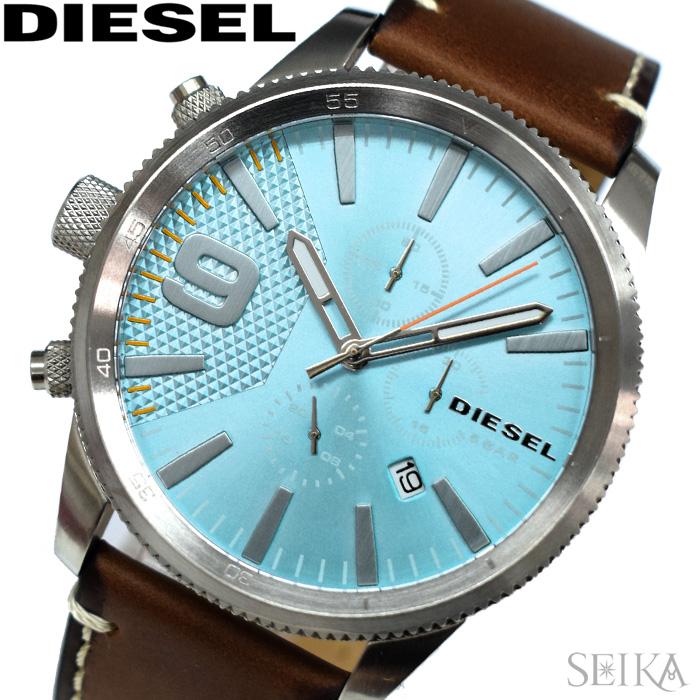 【レビューを書いて5年保証】ディーゼル DIESEL DZ4443 時計 腕時計 メンズ ブルー ブラウン レザー【3X27】 ギフト