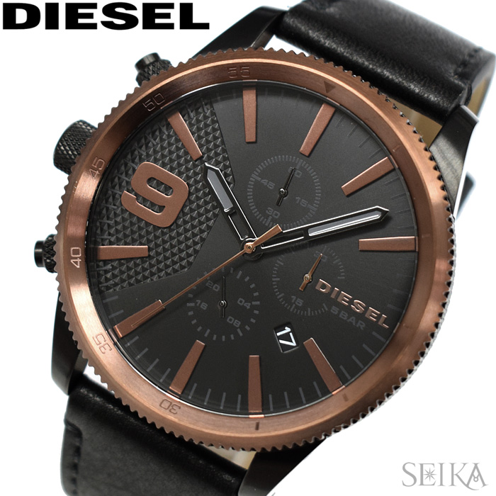 ディーゼル DIESEL DZ4445ラスプ 時計 腕時計 メンズブラック ブロンズ レザー