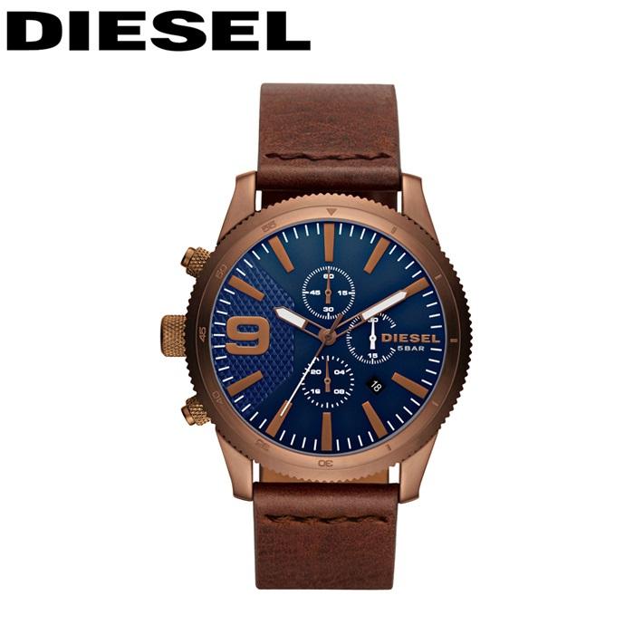 ディーゼル DIESEL時計 腕時計 メンズネイビー ブラウン レザーDZ4455
