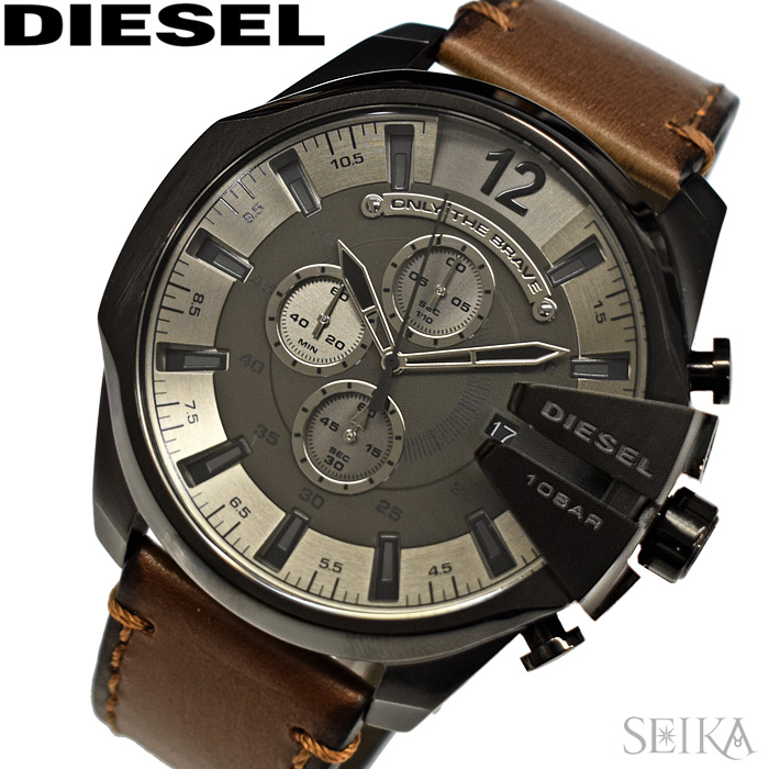 ディーゼル DIESEL DZ4463 メガチーフ時計 腕時計 メンズ ガンメタル ブラウン レザー【2018年新作】【ID】