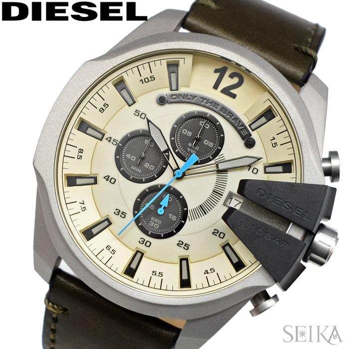 【レビューを書いて5年保証】ディーゼル DIESEL DZ4464 メガチーフ 時計 腕時計 クリーム オリーブ レザー【3X27】 ギフト