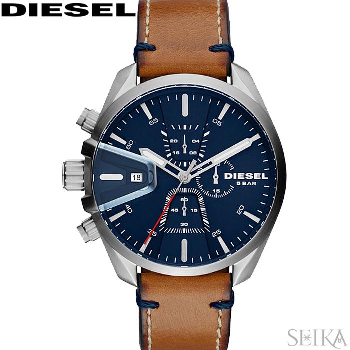 【レビューを書いて5年保証】【スプリングクリアランス】ディーゼル DIESEL DZ4470 エムエスナイン時計 腕時計 ネイビー ブラウン レザー 青い腕時計