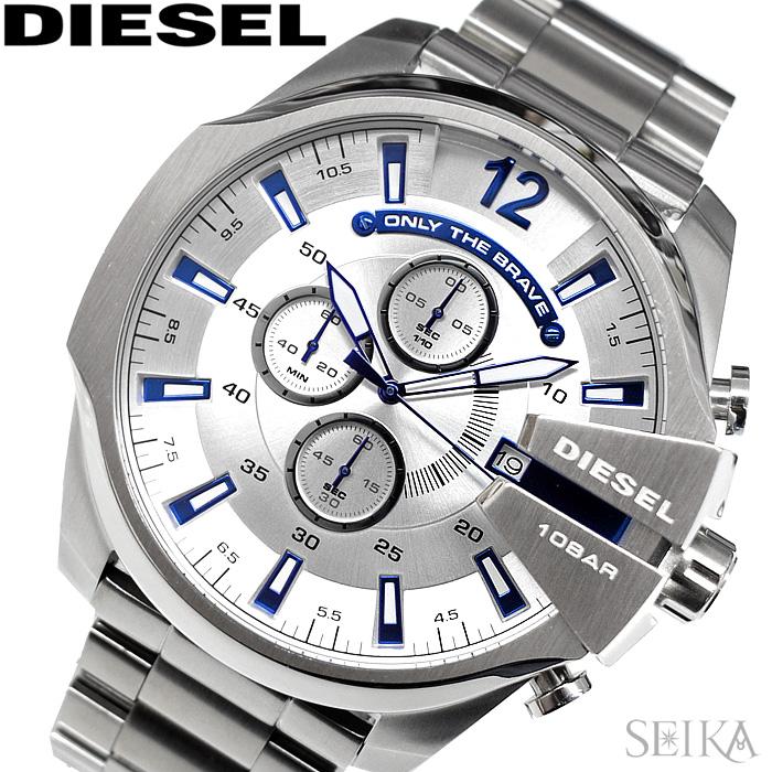 ディーゼル DIESEL DZ4477メガチーフ 時計 腕時計 メンズシルバー【ID】