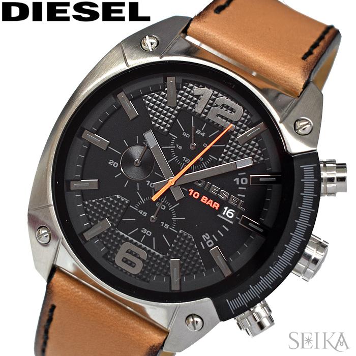 【レビューを書いて5年保証】ディーゼル DIESEL DZ4503 オーバーフロー 時計 腕時計 メンズ ブラック ブラウン レザー【3X27】 ギフト