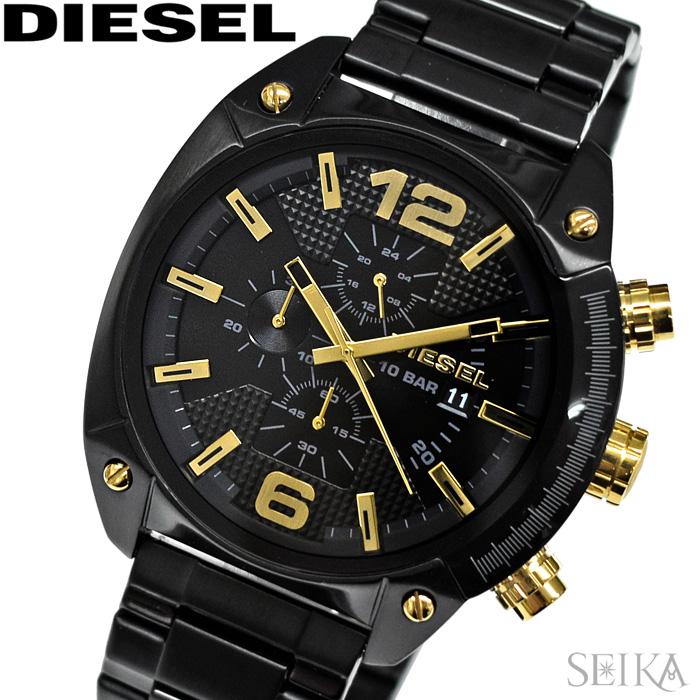 【レビューを書いて5年保証】ディーゼル DIESEL DZ4504 オーバーフロー 時計 腕時計 メンズ ブラック ゴールド【3X27】 ギフト