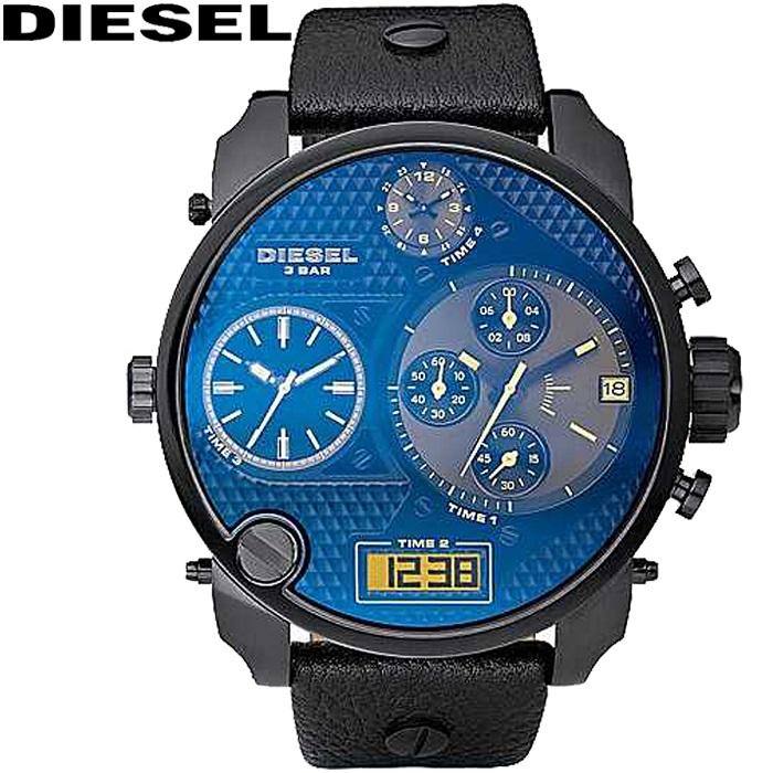 【サマークリアランス】(訳有り ガラスに傷有り)ディーゼル DIESEL DZ7127 アナデジ ビッグフェイス時計 腕時計 ブラック レザー(k-15)