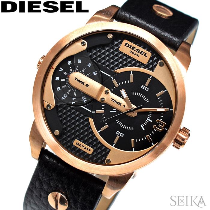 【レビューを書いて5年保証】ディーゼル DIESEL DZ7317 ミニダディ 時計 腕時計 メンズ ピンクゴールド ブラック レザー【3X27】 ギフト