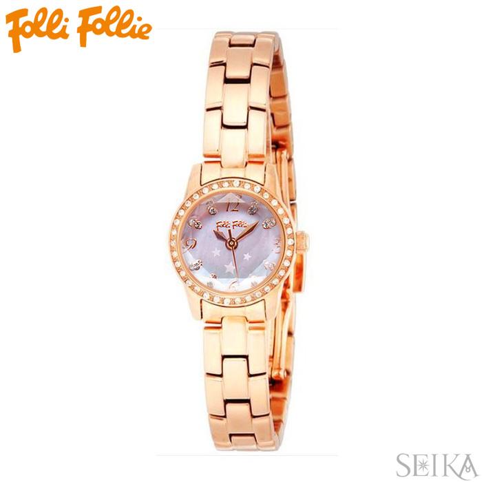 【レビューを書いて5年保証】【サマークリアランス】フォリフォリ Folli Follie WF0B025BSPレディース 時計 腕時計ピンクゴールド シェル ステンレス ギフト
