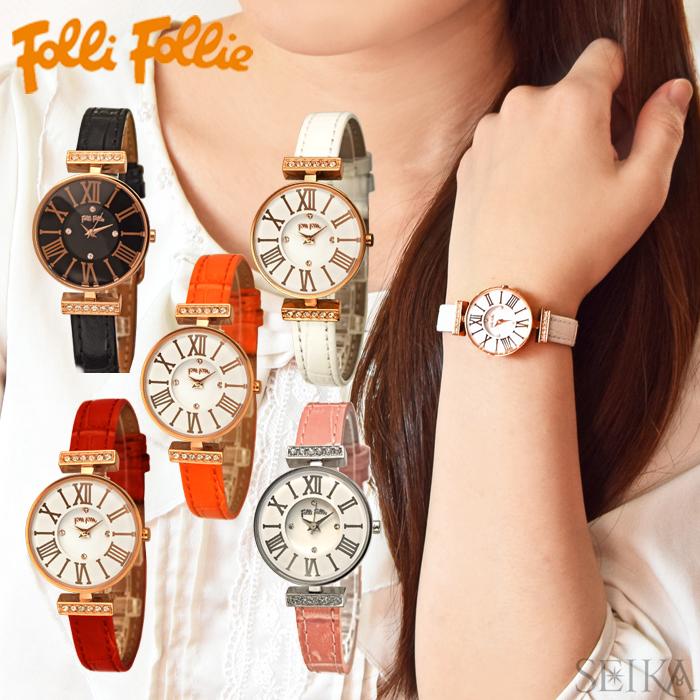 (ショップ袋付)フォリフォリ Folli Follie レディース 時計 腕時計【WF13B014】ブラック ホワイト レッド ピンク オレンジ