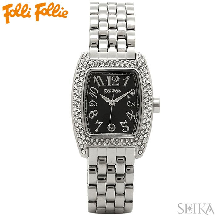 【レビューを書いて5年保証】【サマークリアランス】フォリフォリ Folli Follie WF5T081BDKレディース 時計 腕時計ブラック シルバー ステンレス ギフト