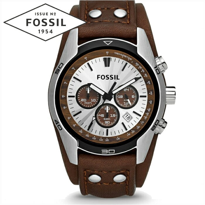 フォッシル FOSSIL CH2565時計 腕時計 メンズ シルバー ブラウン レザー【ID】