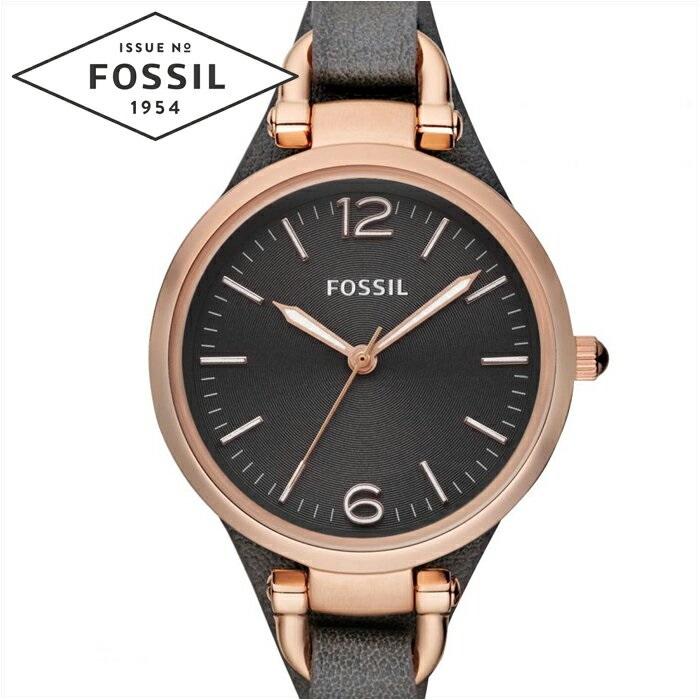 フォッシル FOSSIL ジョージア ES3077時計 腕時計 レディースガンメタルグレー ダークグレー レザー【ID】