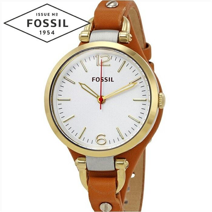 フォッシル FOSSIL ジョージア ES3565時計 腕時計 レディースシルバー ブラウン レザー