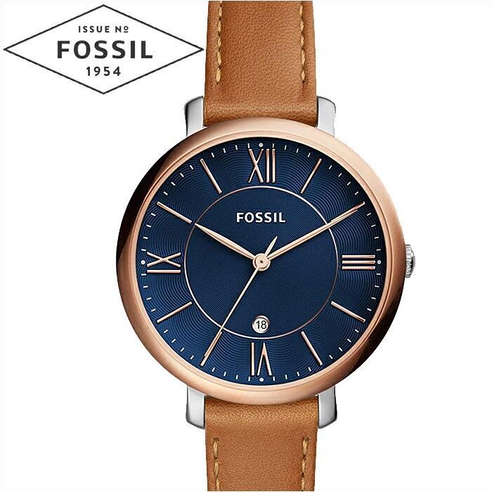 フォッシル FOSSIL ジャクリーン ES4274時計 腕時計 レディースネイビー ブラウン レザー