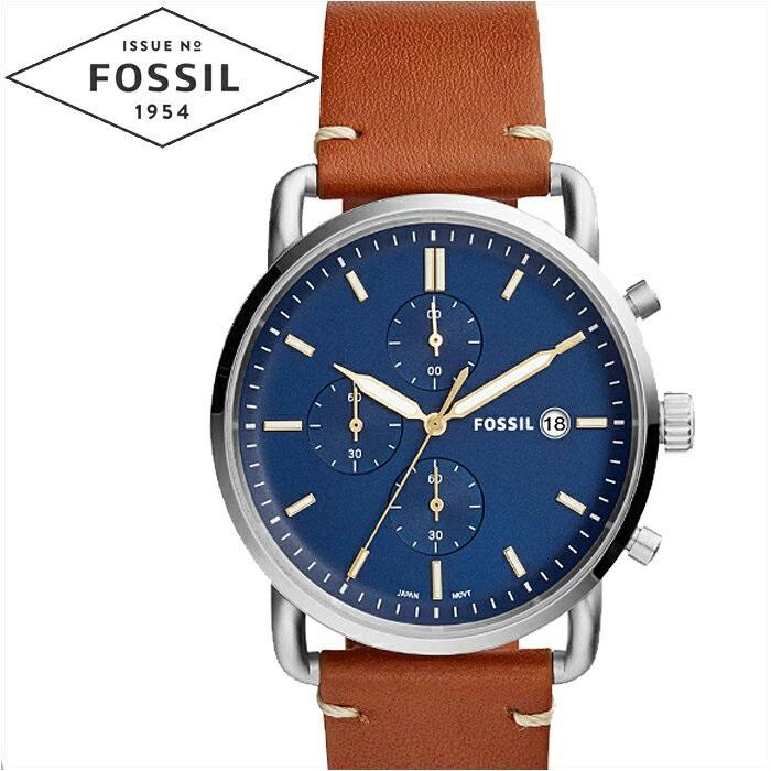 フォッシル FOSSIL FS5401 コミューター時計 腕時計 メンズ ネイビー ブラウン レザー