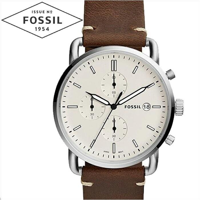 フォッシル FOSSIL FS5402 コミューター時計 腕時計 メンズ アイボリー ブラウン レザー