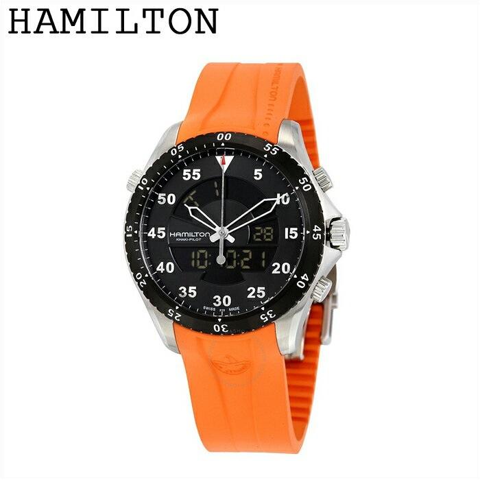(特典付き!)【BOX訳有り】【38】HAMILTON ハミルトン カーキフライトタイマーh64554431 時計 腕時計 メンズブラック オレンジ レザー【ID】