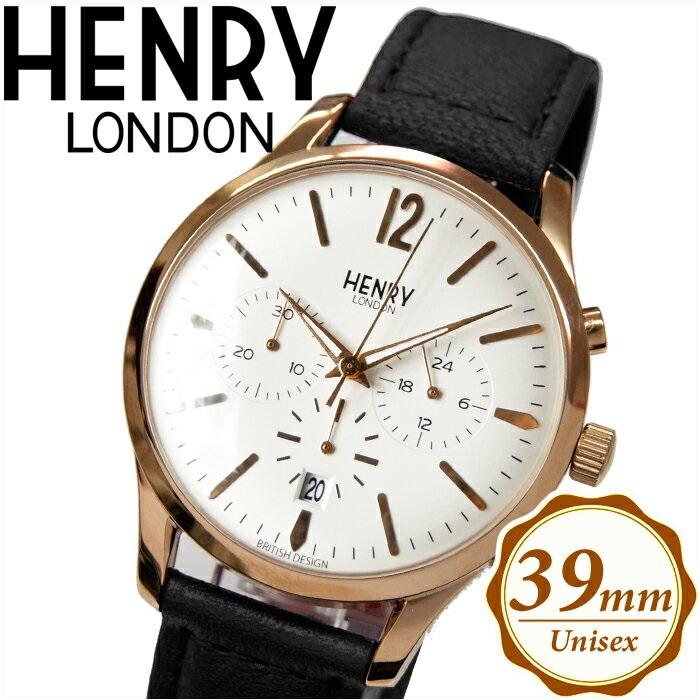 【クリアランス】ヘンリーロンドン HENRY LONDONHL39-CS-0036(18) リッチモンド時計 腕時計 メンズ レディースシルバー ピンクゴールド ブラック レザー 39mm クロノグラフ【ID】