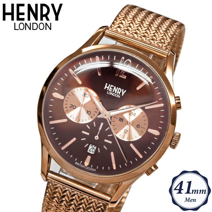 【クリアランス】ヘンリーロンドン HENRY LONDONHL41-CM-0056(84) ハーロー メッシュ時計 腕時計 メンズ レディースブラウン ピンクゴールド 41mm