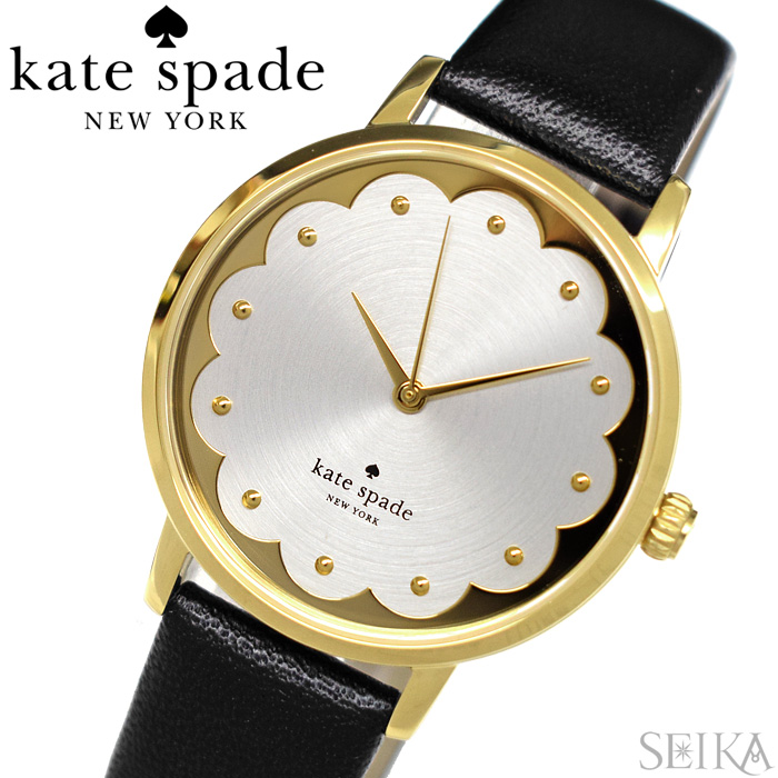 【レビューを書いて5年保証】ケイトスペード Kate spade (18)KSW1380 メトロスカラップ 時計 腕時計 レディース ゴールド ブラック レザー【3X27】 ギフト