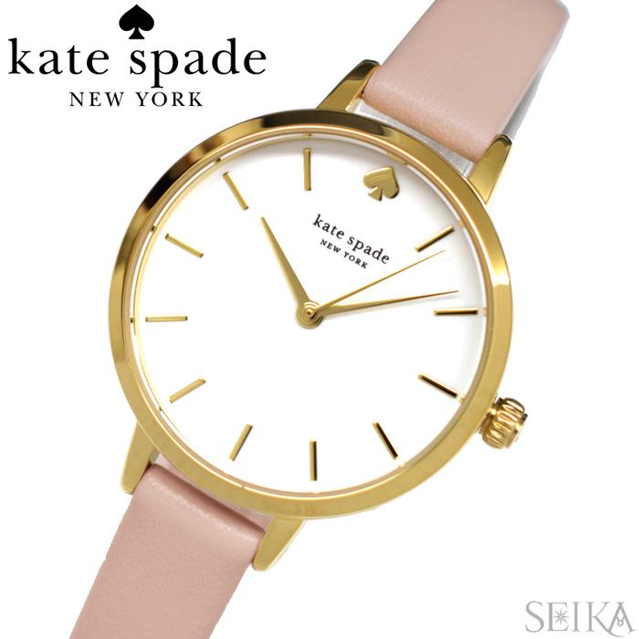 【レビューを書いて5年保証】ケイトスペード Kate spade (24)KSW9003 メトロ 時計 腕時計 レディース ゴールド ピンク レザー【3X27】 ギフト