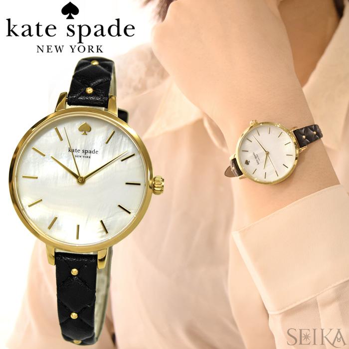 【レビューを書いて5年保証】ケイトスペード Kate spade (6)KSW1469 METRO メトロ 時計 腕時計 レディース ブラック レザー シェル ギフト