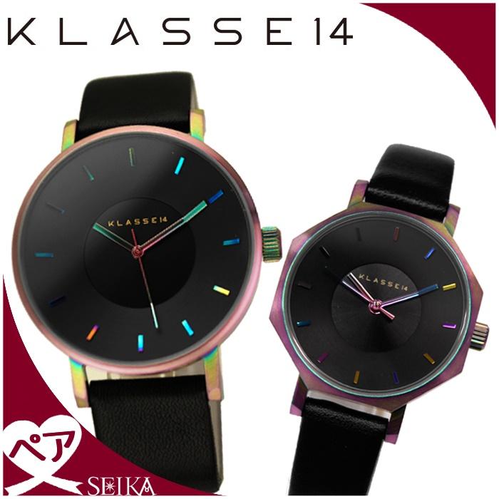 【ペアウォッチ】【クリアランス】クラス14 KLASSE14 時計 腕時計 メンズ VO15TI001M(25) レディース OK17TI001S(69)レインボー ブラック レザー 【SEIKA厳選ペア】【G1】