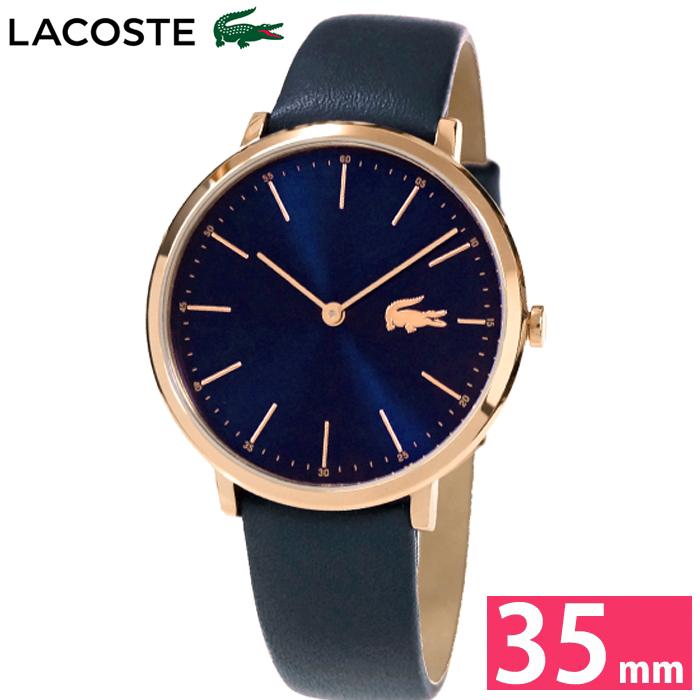 ラコステ LACOSTE 2000950 (83)時計 腕時計 レディースネイビー ピンクゴールド レザー 薄型腕時計/スリムモデル