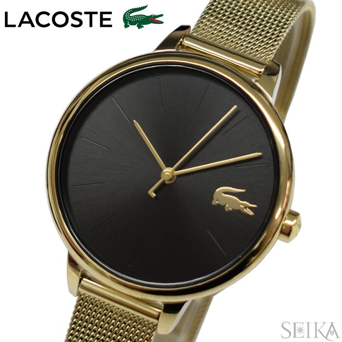 【レビューを書いて5年保証】ラコステ LACOSTE 2001102(214) 時計 腕時計 レディース ブラック ゴールド メッシュ ギフト