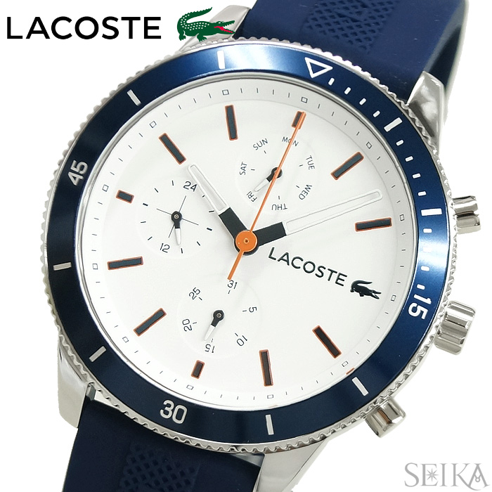 【当店ならお得クーポンあり!】ラコステ LACOSTE 2010993 (129)時計 腕時計 メンズホワイト ブルー ラバー 白い腕時計